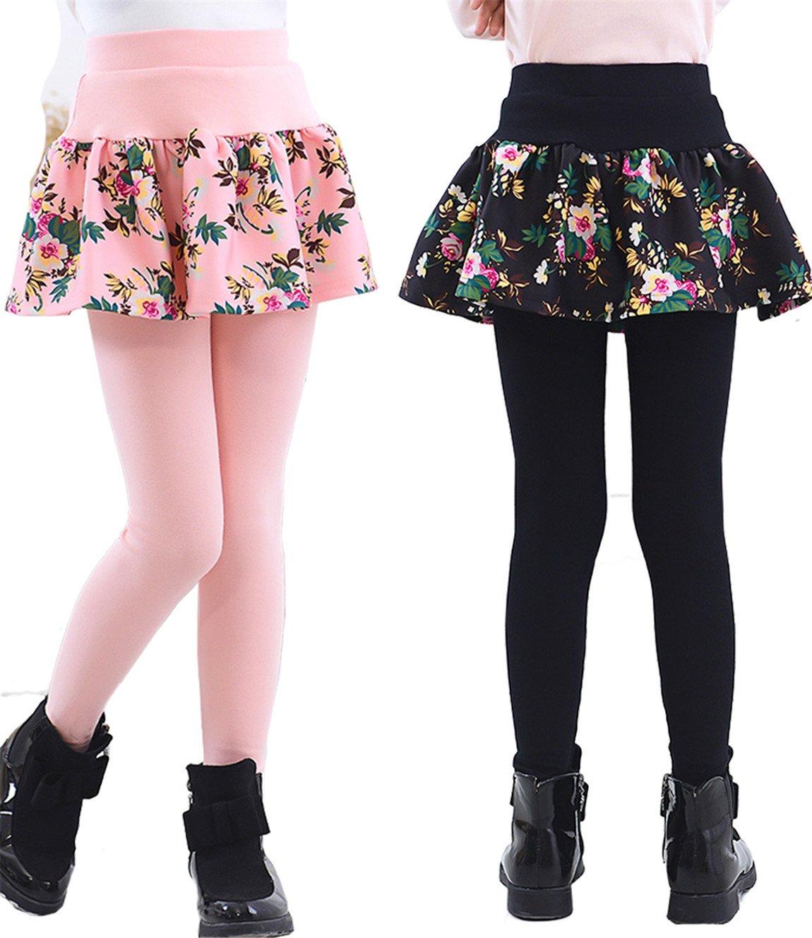 SERAIALDA Kids Girls 2 Pieces Lace Ruffle Leggings Gauze Culottes Tutu Skirt Leggings Pants 8-9 Years(Tag Size 140)