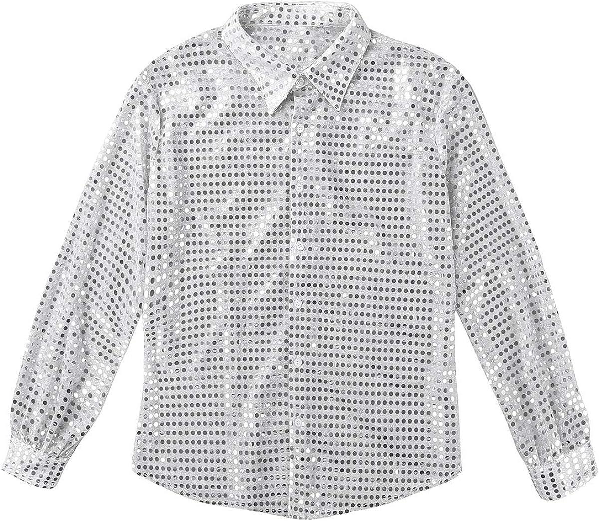 Alvivi Mens Shiny Sequins Party Shirts Retro 70s Disco Fever Hustling Hunk Costume Clubwear