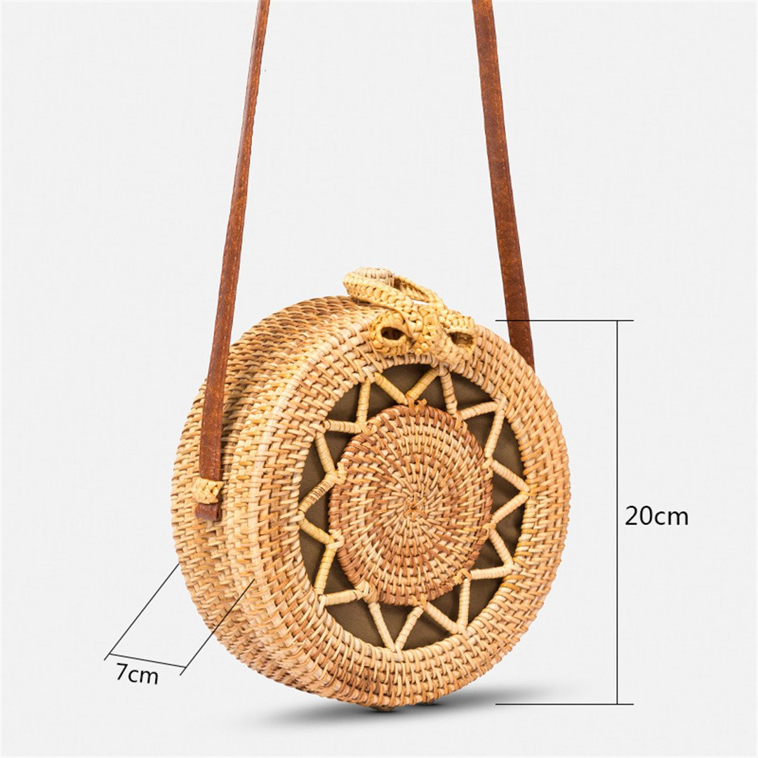 Amazon.com: LAIHUIBAO Summer Bali Hand-Woven Rattan Bag Shoulder Crossbody Bags Straw Bag an Knitting Circular Handbags Khaki: Sports & Outdoors