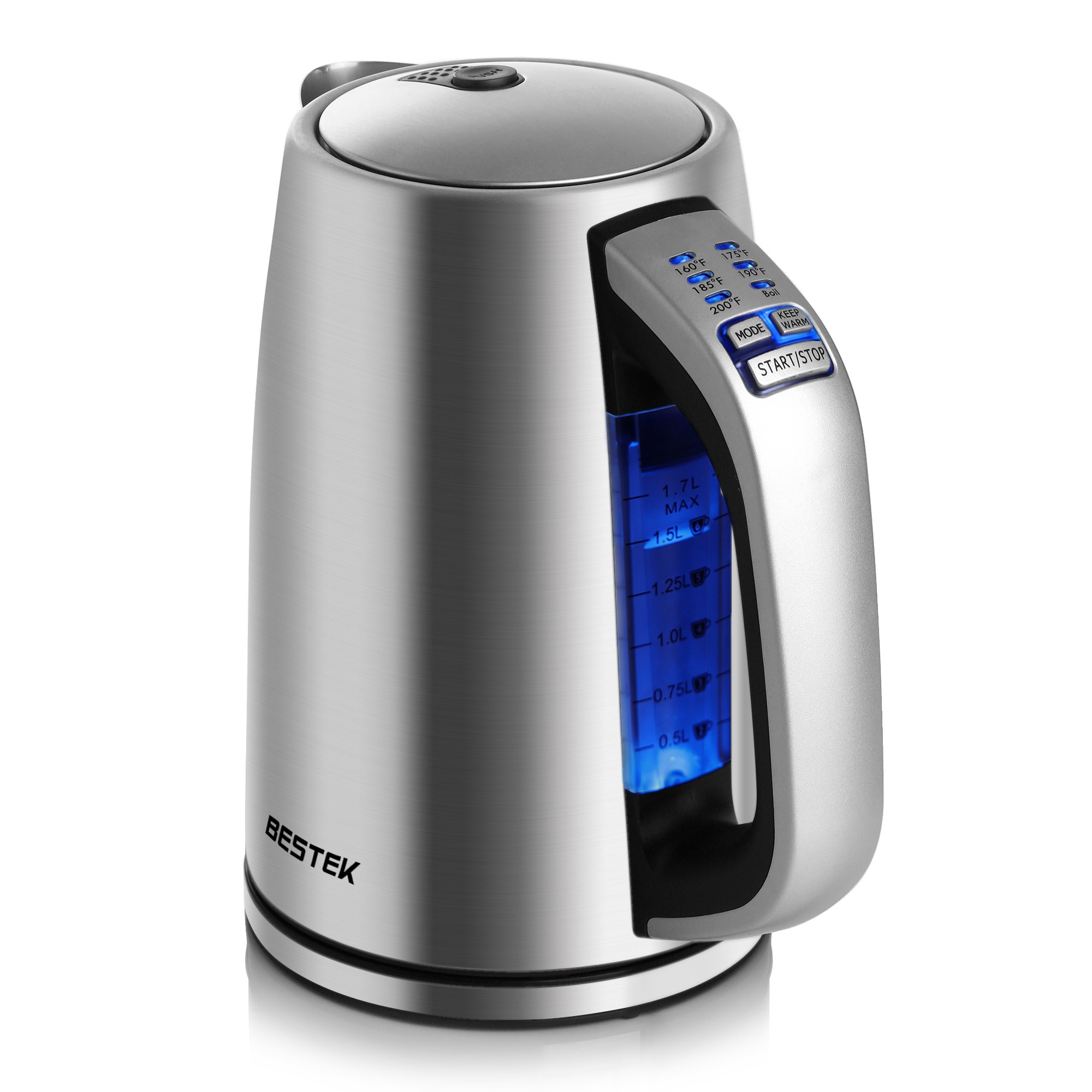 BESTEK Electric Kettle 1.7L Stainless Steel Water Boiler Adjustable Temperature Control Tea Kettle Strix Control, Auto Shut Off, Boil Dry Protection Keep Warm