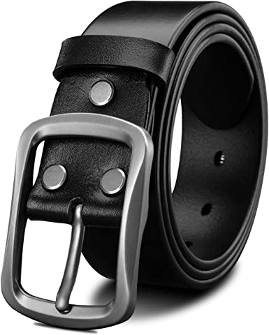 LUCIANO Chic Black Brown Thick Genuine Leather Italy Cowhide Dress Belt for Men