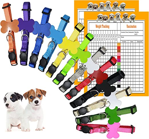GAMUDA Puppy Collars ID Tags – Super Soft Whelping Puppy ID - Adjustable Breakaway Litter Collars Pups – Assorted Colors Plain & Identification Collars with 2 Record Keeping Charts