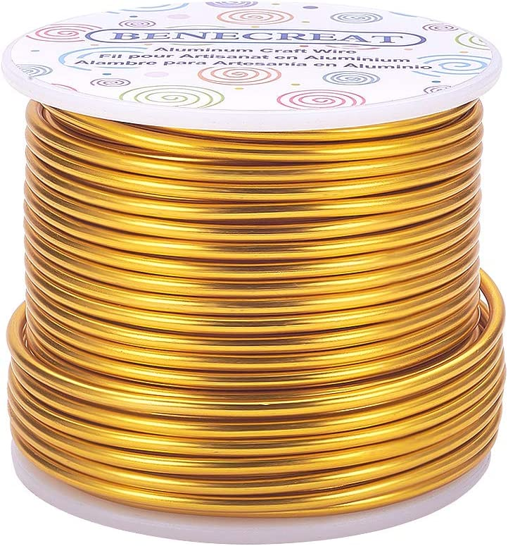 BENECREAT 10 Gauge Jewelry Craft Aluminum Wire 80 Feet Bendable Metal Sculpting Wire for Craft Floral Model Skeleton Making (Light Gold, 2.5mm)