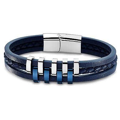 am modischsten Turnschuhe Laufschuhe Lotus Style Armband für Herren aus Edelstahl silber blau ...