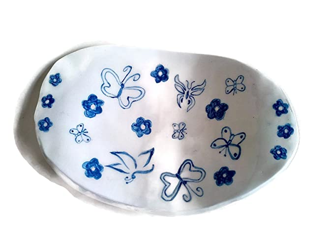 White Bowl With Hand Painted Blue Butterflies Large Ceramic Fruit