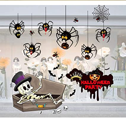 CDD Halloween Decoraciones Pegatinas De Pared Arreglo De Escena De Vidrio Pegatinas Estáticas Pegatinas Hotel Tiendas