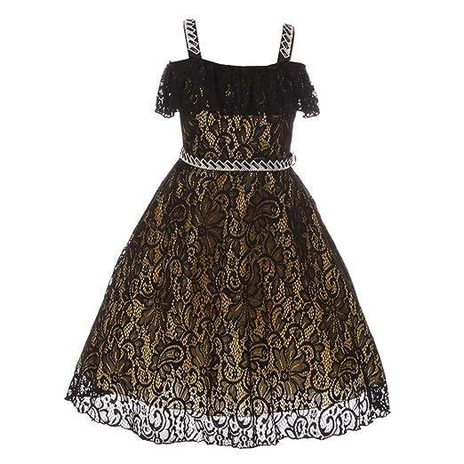 Amazon Chic Baby Little Girls Black Gold Lace Rhinestone Strap
