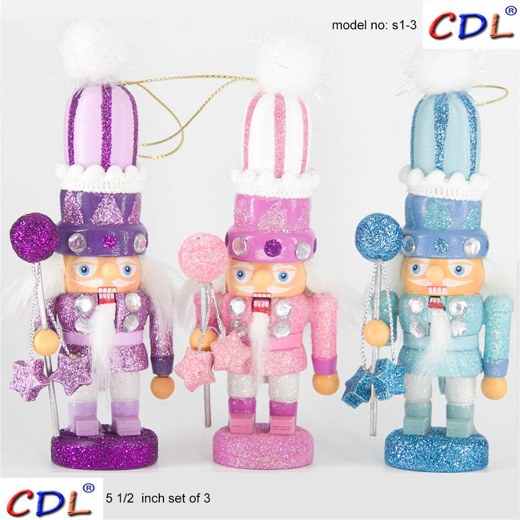 ECOM-CDL CDL 5.5'' Small Wooden Nutcracker Ornament Set of 3/Nutcracker Figures S1S2S3