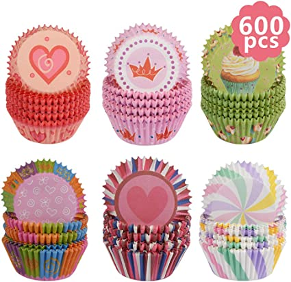 100 PINK heart Cupcake liners baking cake paper cup standard size party cup