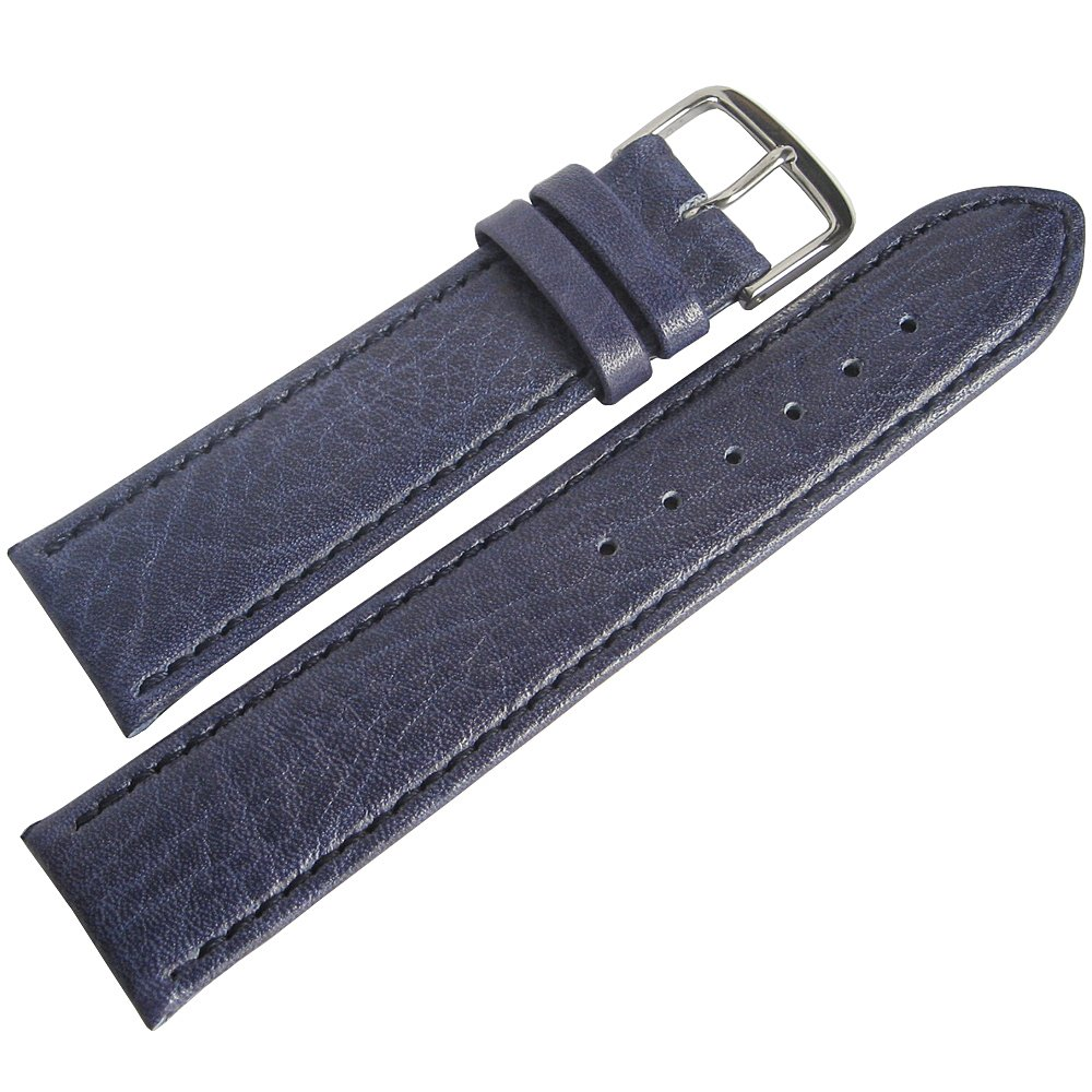 Fluco Record 20mm Blue Leather Watch Strap