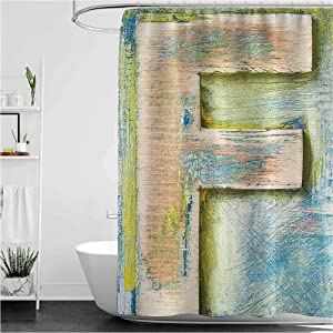 "Interestlee Letter F Dorm Shower Curtain Damaged Worn Uppercase F Printing Symbol Antique Letterpress Block Typeface Cloth Fabric Bathroom Decor with Hook Green Blue Tan 55"" x 72"""