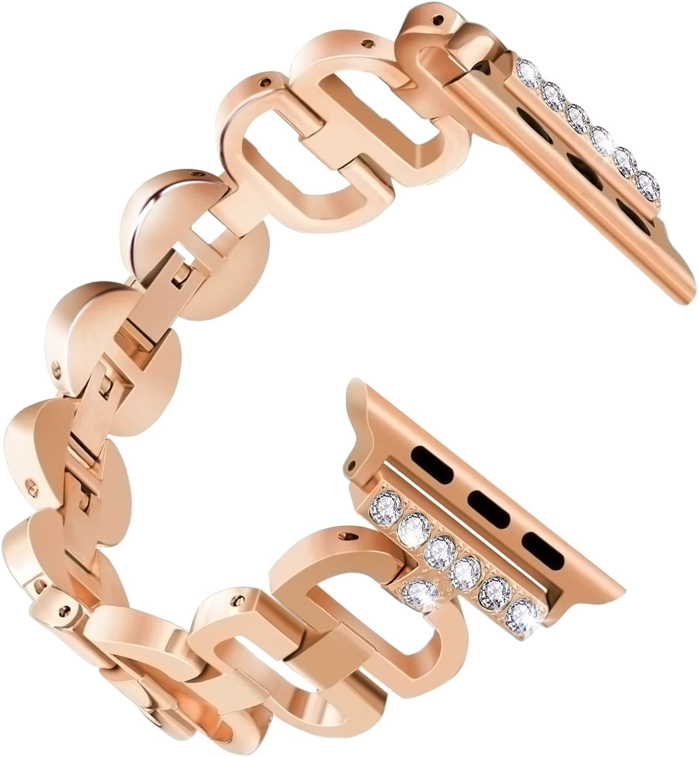B BELK Bling Crystal Glitter Diamond Band Compatible Apple Watch Band 38mm iWatch Series 3, Series 2, Series 1, Diamond Rhinestone Stainless Steel Metal Wristband Strap, Rose Gold