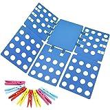 Ohuhu Clothes Folding Board, Adjustable Clothes Folder with Towel Clips - Adult Dress Pants Towels T-Shirt Folder Board/Easy Laundry Folder Organizer, Blue