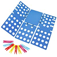Clothes Folding Board, Ohuhu Adjustable Clothes Folder with Towel Clips - Adult Dress Pants Towels T-Shirt Folder Board/ Easy Laundry Folder Organizer, Blue