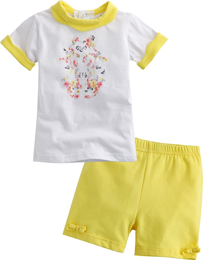 Vaenait baby Kids Girls 2 Pieces Shortsleeve Outfits Set Yelllow Butterfly