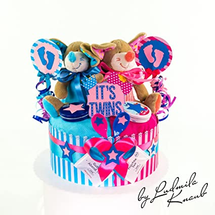 Tarta Pañales para Géminis en un bonito tono azul de color rosa//regalo para