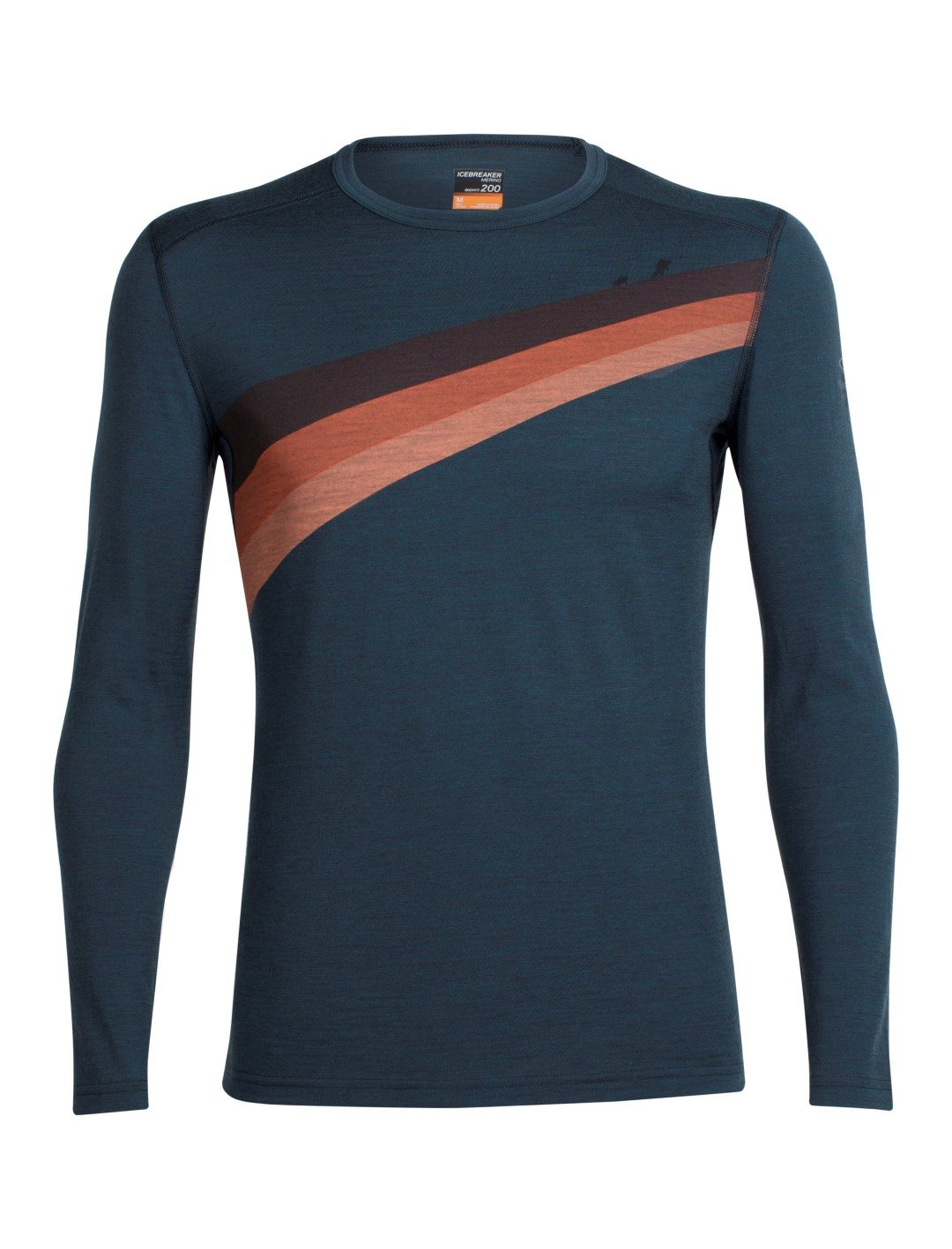 Icebreaker Merino Men's Oasis Long Sleeve Crewe With Graphic, Ascent Stripe - Nori Heather, Small by Icebreaker Merino