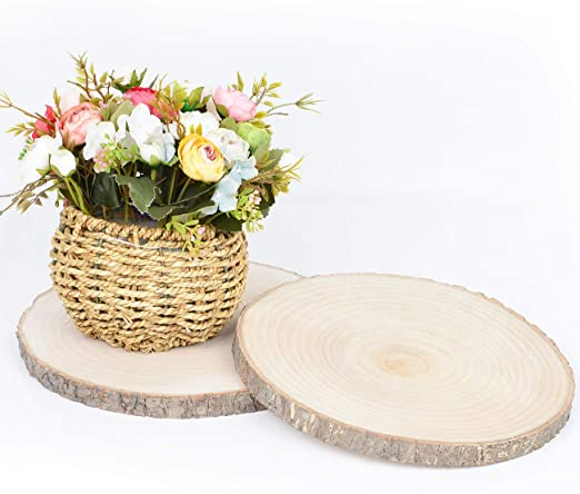 4 Pack Natural Basswood Slices Round 7.5-9.1inch Rustic Slabs Unfinished Wood Sanded for Wood Burning Wedding Centerpiece Table Birthday Party Baby Shower Decoration Craft