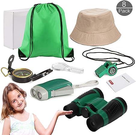OOTSR Kit de Explorador al Aire Libre (8 pcs) Juguetes de Juego de imaginación para niños y niñas Prismáticos, Silbato, Brújula, Lupa para Camping y Senderismo: Amazon.es: Juguetes y juegos