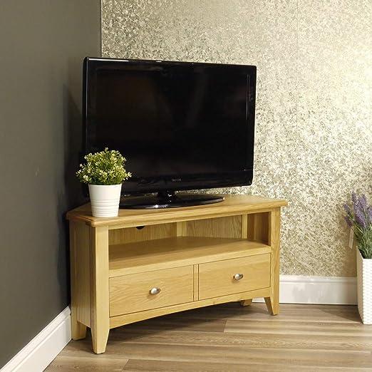Mueble esquinero Moderno de Roble Oakland para TV | Mueble de TV de Almacenamiento | Tono de Madera Clara: Amazon.es: Hogar