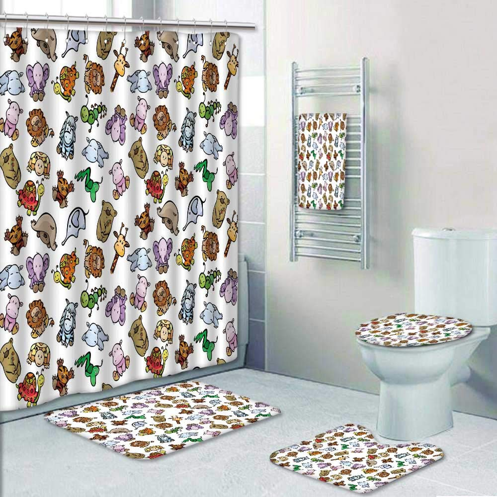 Philip-home 5 Piece Banded Shower Curtain Set Seamless of Cute Baby Animals Pattern Printing Suit