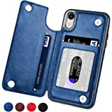 TERSELY Case Cover for Apple iPhone XR, Leather Wallet Slim Ultra Thin Magnetic Magnetic Hard Cover Shockproof Protective Sleeve Stand Case for Apple iPhoneXR (2018) - Navy Blue