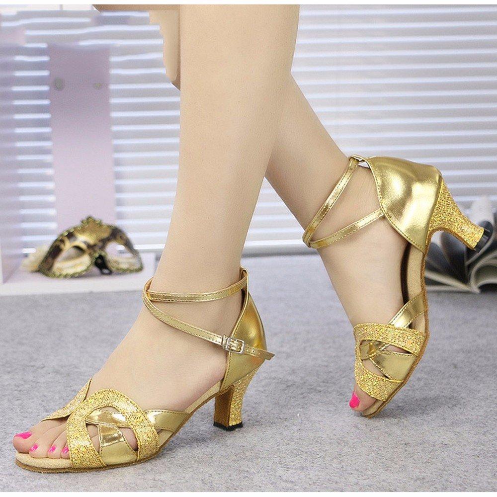 L'or US7.5 EU38 UK5.5 CN38 Masocking@ Femme Chaussures de Danse Sandales Sandales légères Sparkling