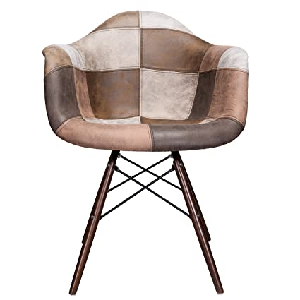 Terrific Amazon Com Mooku Brown Patchwork Leatherette Fabric Ncnpc Chair Design For Home Ncnpcorg