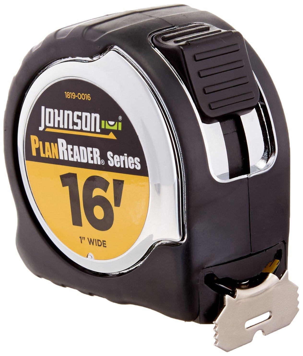 Johnson Level 1819-0016 16-Foot Plan Reader Power Tape, Black/Silver