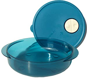 Tupperware Rock N Serve Microwave Dish 3 1/4 Cup Round Blue