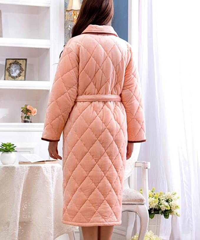 ae6bfb086c POKWAI Winter Pajamas Pajamas Woman Three Layers Thickening Gowns Warm Long  In The Long Leisure Bathrobe Long Sleeve Lapel Bathrobes