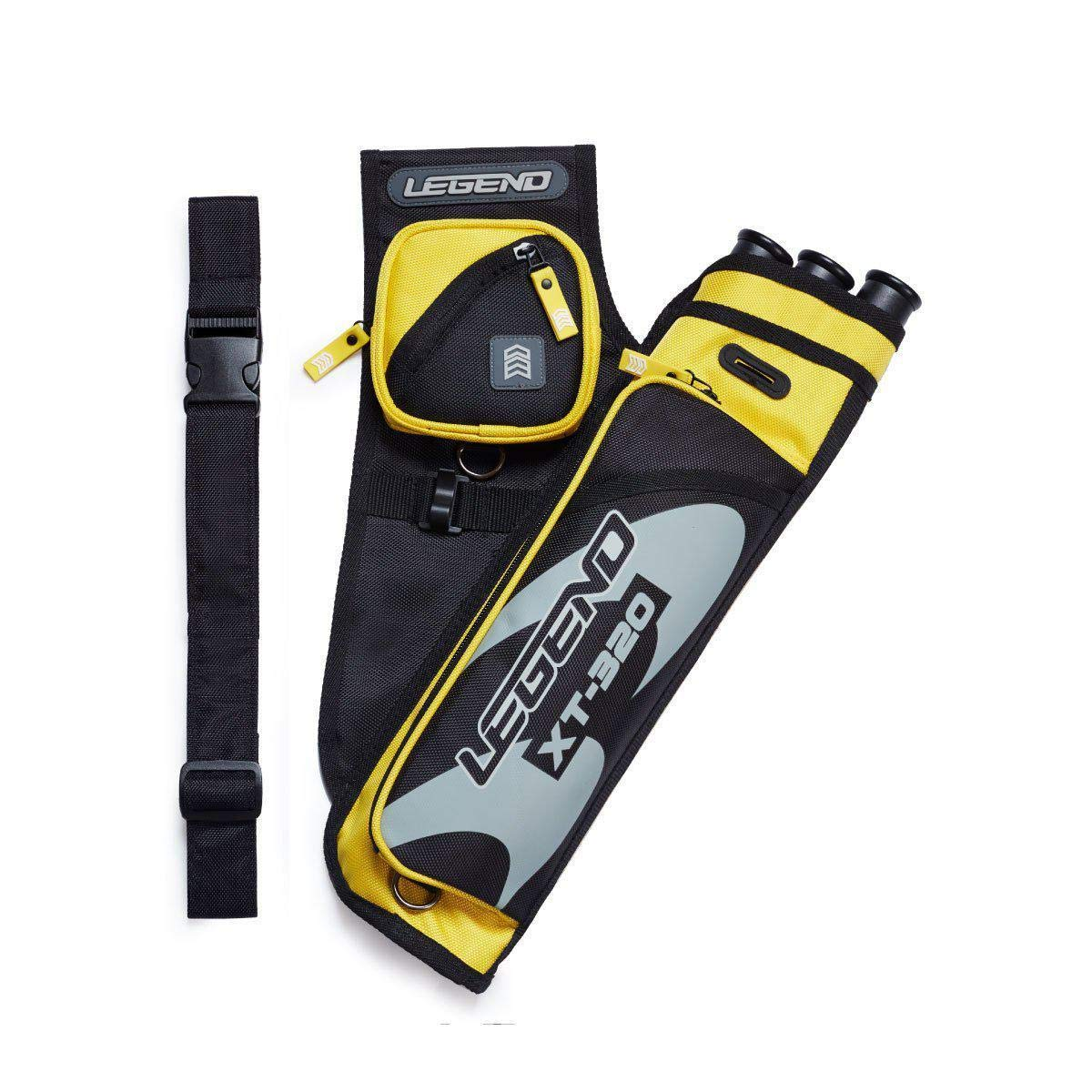 Legend Archery Hip Target Quiver 3-Tube Multi-Pocket Arrow Holder Lightweight and Functional XT320 (Yellow/Right)