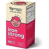 Renzos Iron Strong, Dissolvable Vitamins for Kids, Vegan, Zero Sugar, Oh-Oh-Oh Orange Flavor, 90 Melty Tabs, Elemental Iron Supplement for Children