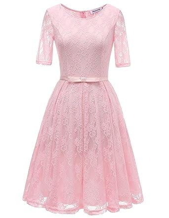 Bbonlinedress Damen Retro Vintage 1950er Rockabilly Cocktail Spitzenkleid  Pink S