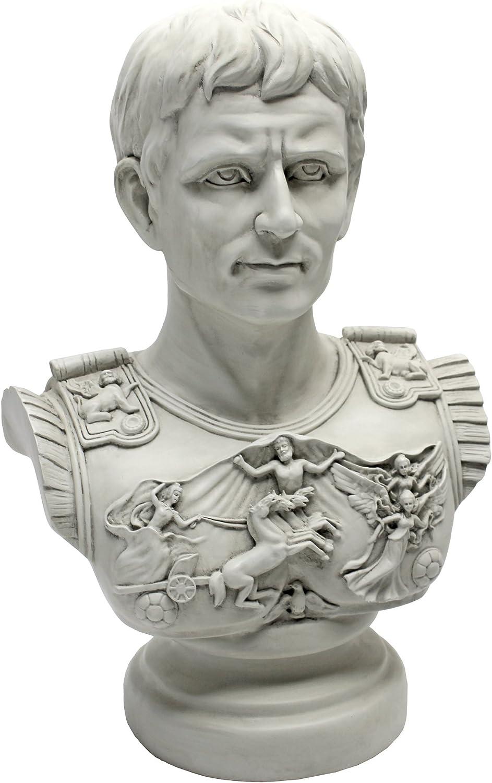 Design Toscano AH250835 Augustus Caesar Primaporta Bust Statue, 18 Inch, Antique Stone