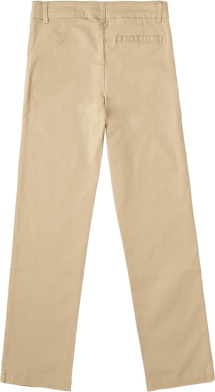 Bienzoe Big Girls School Uniforms Cotton Stretchy Slim Adjust Waist Trouser
