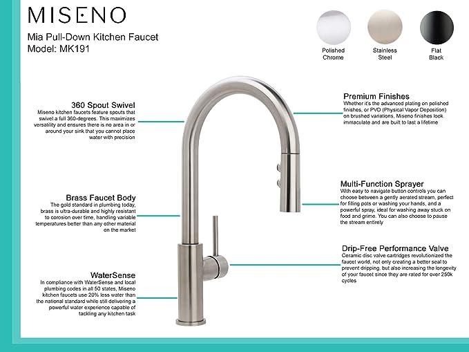 Miseno Mk191 Gemma Pull Down Dual Spray Kitchen Faucet Includes Deck Plate Amazon Com