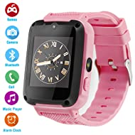 Ralehong Kids Phone Smartwatch Games 1.54 inch Touch Screen Music Player Two-Way Call Camera Bluetooth (Pink)