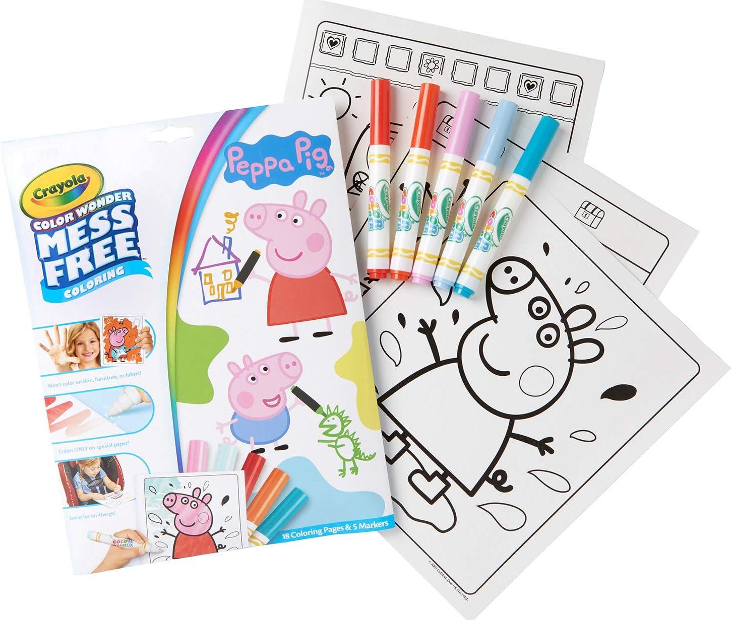 Amazon.com: Crayola Color Wonder Peppa Pig Coloring Pages, Mess ...
