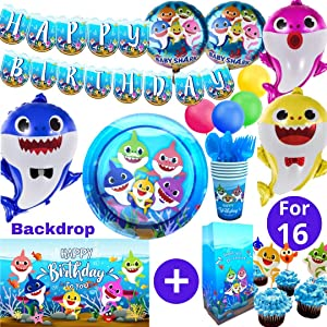 Baby Shark Party Supplies First 1st Birthday Decorations Girls Boys with Balloons Happy Birthday Banner 3x5 ft Backdrop Cake Topper Theme Cupcake Wrappers (Tableware Set)
