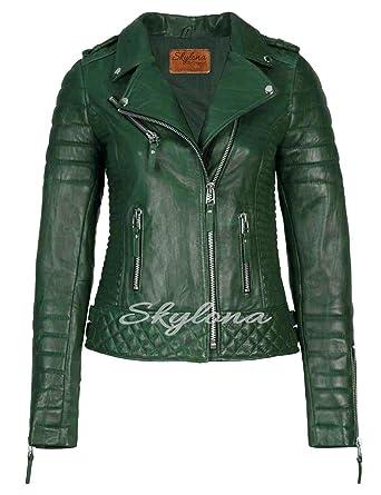 f6e99b9541e46 Womens Leather Jackets Stylish Motorcycle Biker Real Lambskin Dark Green XS