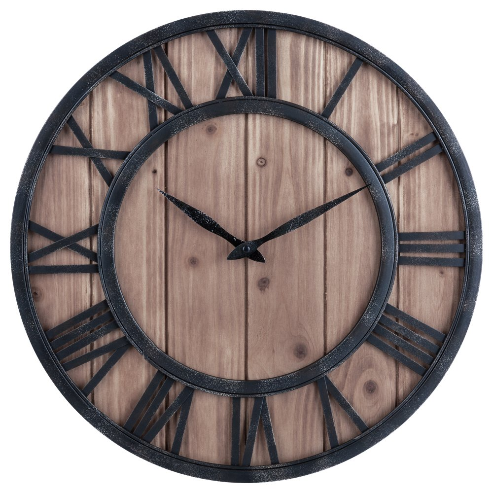 Shop amazon wall clocks oldtown farmhouse rustic barn vintage bronze metal solid wood noiseless big oversized wall clock amipublicfo Image collections