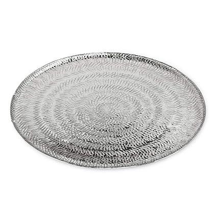 Edzard – Bandeja para Servir/Plato Malvina niquelado Aluminio, Redondo, diámetro 40 cm