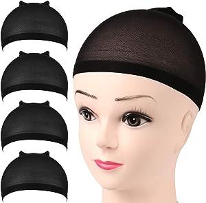 Nylon Wig Caps, FANDAMEI 4 Pieces Stocking Wig Caps for Women (Black)
