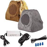 """Bluetooth Wireless Rock Speaker Pair, 5.25"""" 120W 2-Way Weather-Resistant Outdoor Speakers with IP67 Waterproof Power Supply (Brown)"""