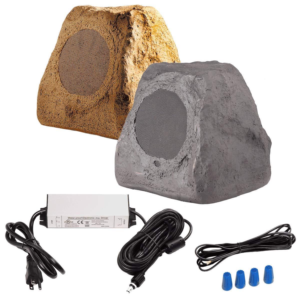 OSD Audio Wireless 2-Way Outdoor Rock Speaker Pair - Bluetooth 5.25'' - BTR150 Brown