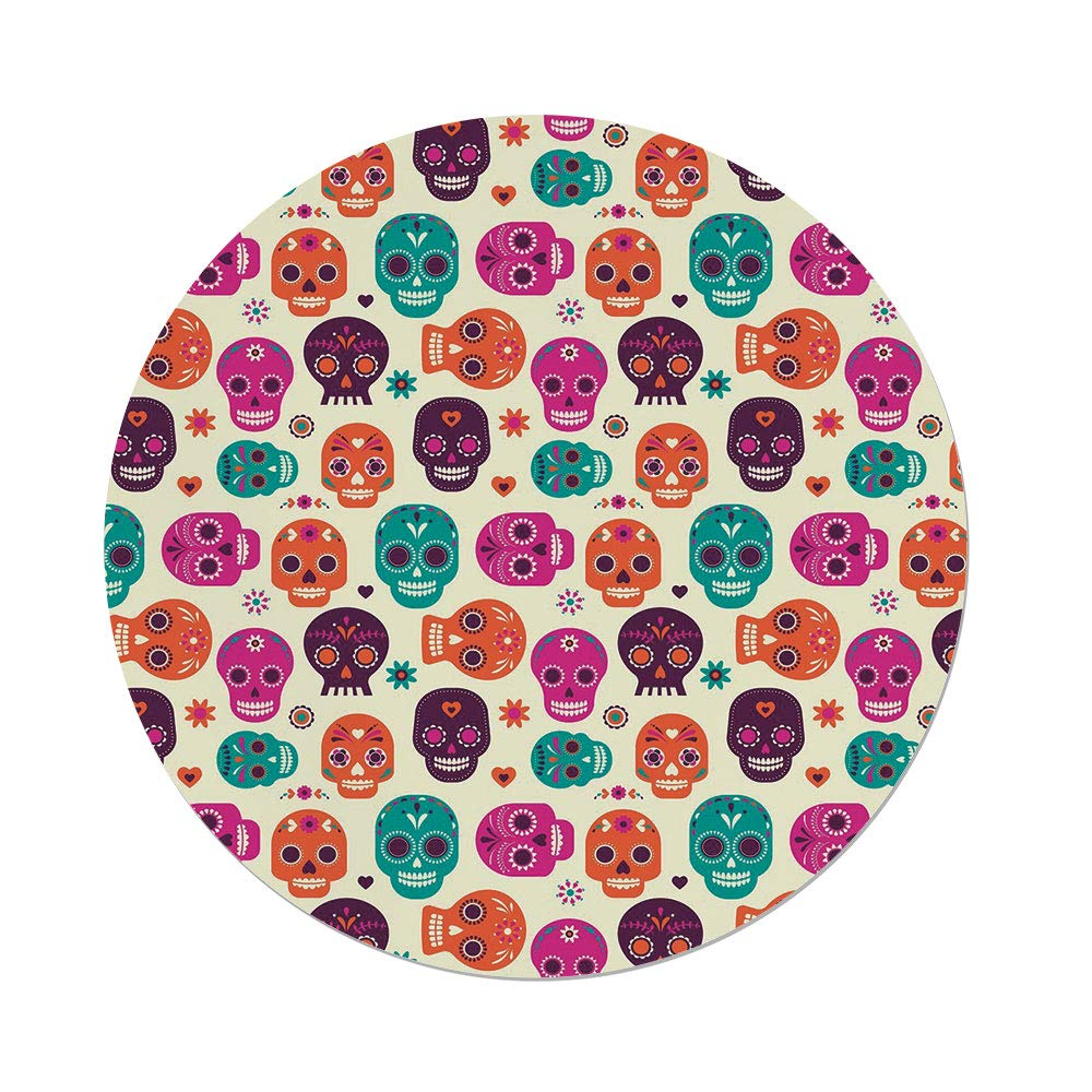 iPrint Polyester Round Tablecloth,Sugar Skull Decor,Cute Colorful Skull Silhouettes Hearts Flowers Carnival Celebration Decorative,Multicolor,Dining Room Kitchen Picnic Table Cloth Cover Outdoor Ind