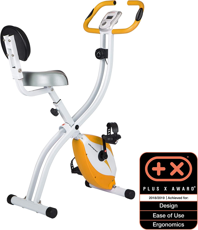 Ultrasport F-Bike - Bicicleta estática con sensores de pulso de mano, bicicleta estática con ordenador de entrenamiento y sensores de pulso de mano