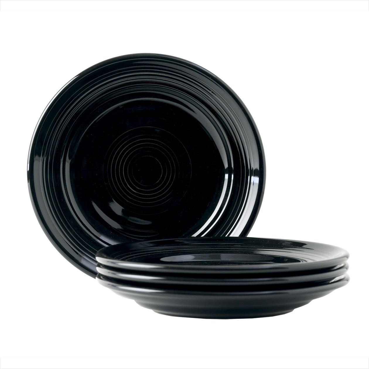 Tuxton Home Concentrix Salad Plate (Set of 4), 7 1/2'', Black; Heavy Duty; Chip Resistant; Lead and Cadmium Free; Freezer to Oven Safe up to 500F