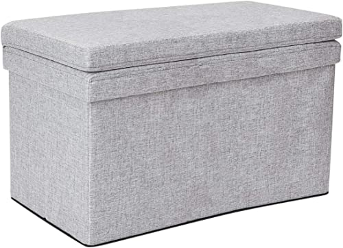 Dormify Collapsible Storage Ottoman Bench with Seat Back – Dorm Room Decor, Heather Grey